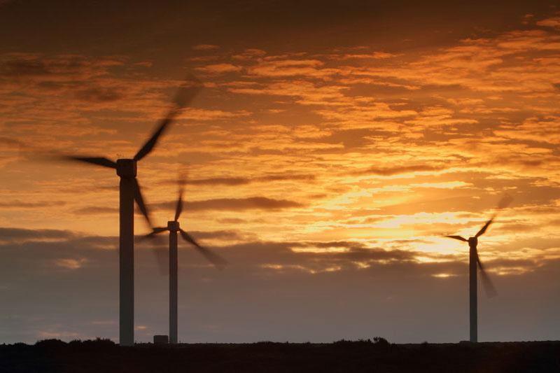 Ovenden wind farm sunset