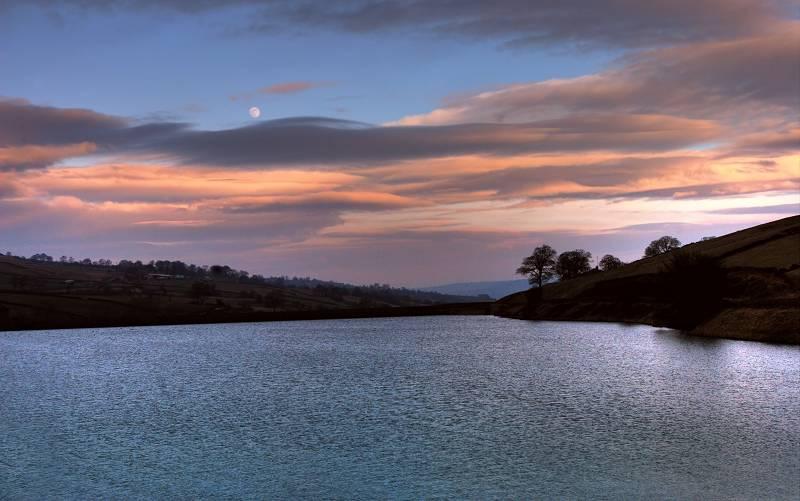 Ponden Reservoir at dusk