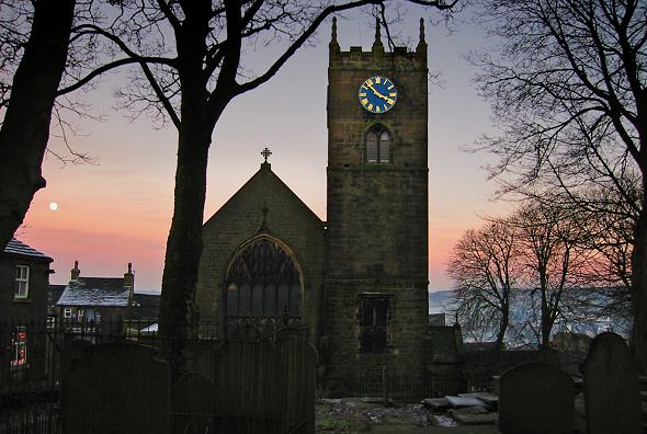 Haworth church at dusk