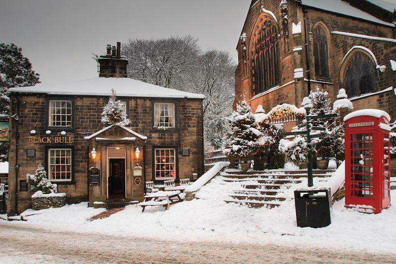 Black Bull and Church in thesnow.