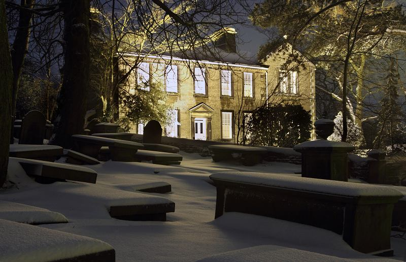Bronte Parsonage, snow at night