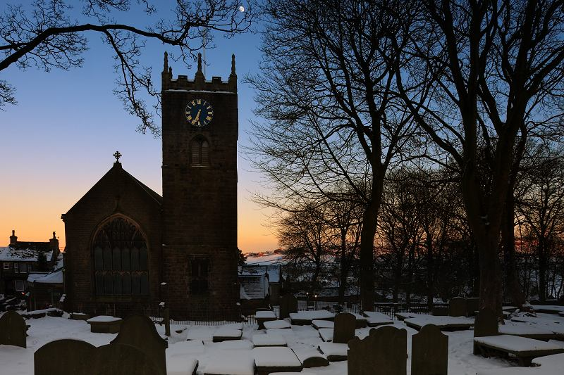 Haworth church at dusk