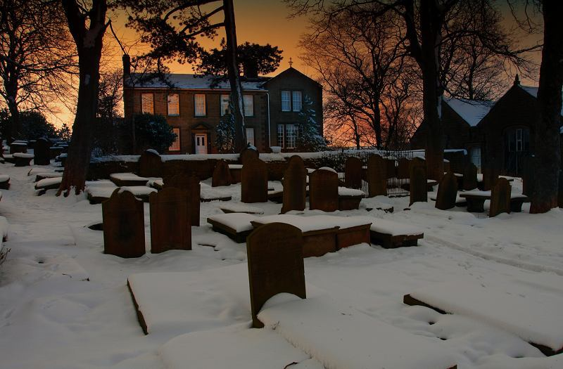 Bronte Parsonage at dusk