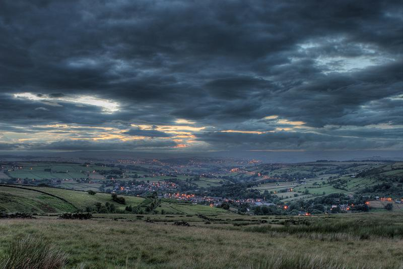 Haworth at dusk from Oxenhope moor