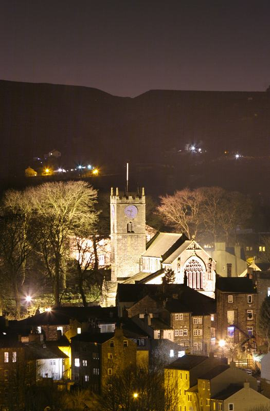 Church and Main St at night from Brow moor