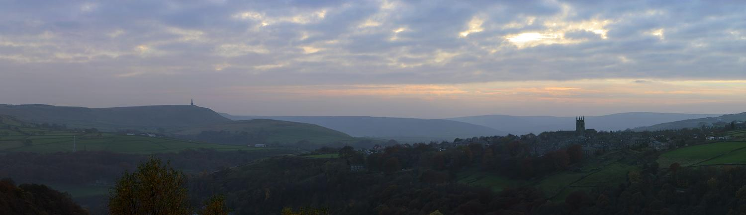Stoodley Pike and Heptonstall Church, panorama