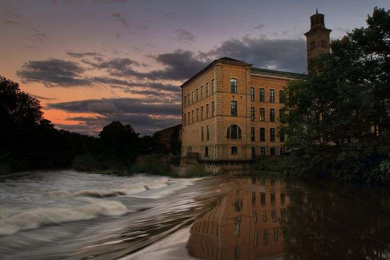 Saltaire at dusk