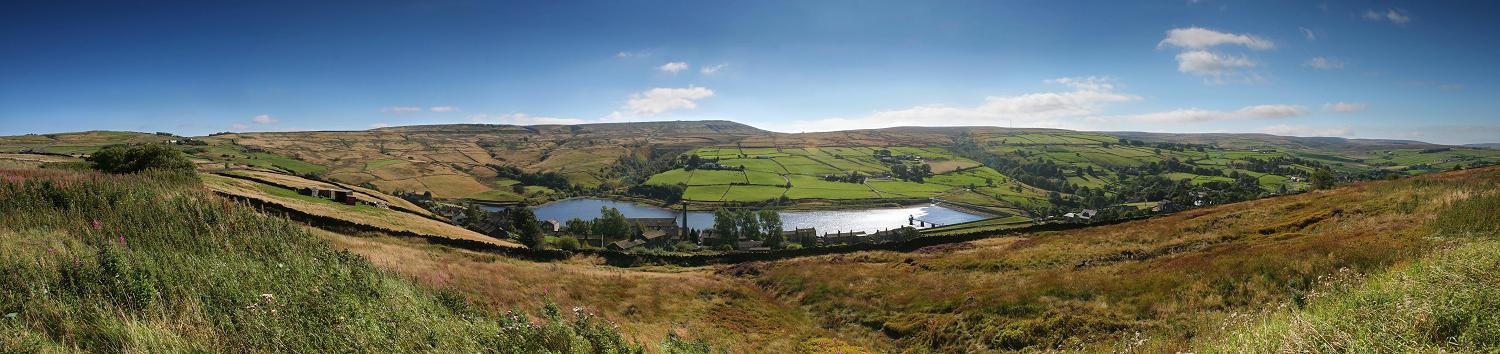 Oxenhope panorama - view of Leeming reservoir