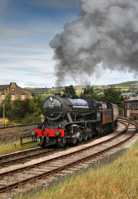 Locomotive 90733 departing Keighley