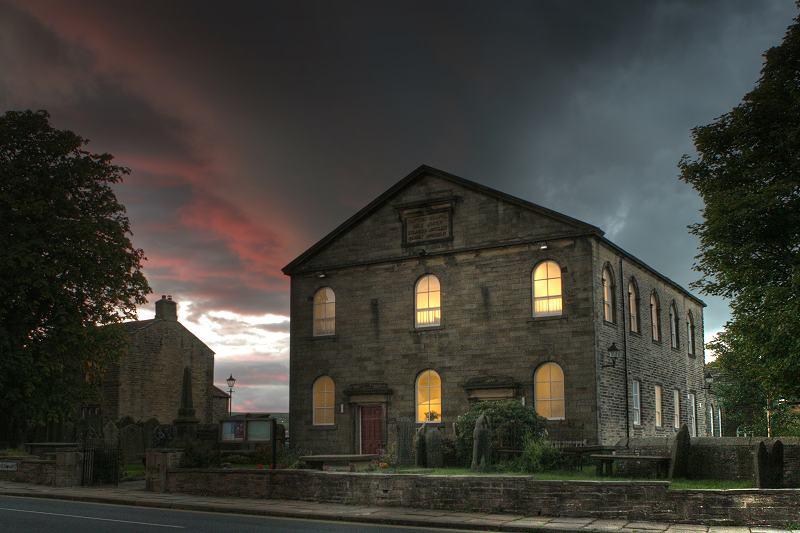 West Lane Baptist at dusk